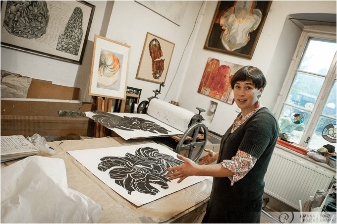 graphic artist Anna Siek in her art studio